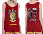 Harry Potter #7 Gryffindor Seeker High Low Tank Top Shorts Sleep Lounge Set PJs