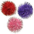 """VALENTINE'S DAY GLITTER POM POMS CAT TOYS 1"""" or 3"""" Sparkly Tinsel Balls Red Pink"""