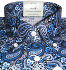 Mens Shirt Blue Black Paisley Platinum Range Button down Cotton Relco S - 3XL