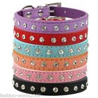 New Luxury Diamante Band Dog Pet Cat Collars Puppy Gift Rhinestone Suede Leather