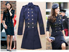 Kate Style Navy Blue Wool Blend Long Ankle Belt Military Coat Jacket 8 10 12 14
