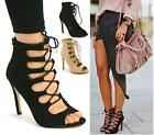 LADIES WOMENS HIGH HEELS STILETTOS LACE UP GLADIATOR ANKLE SANDALS PEEP TOE SIZE