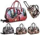 LADIES HOLDALL TROLLEY WEEKEND PHOTO PRINT LUGGAGE HOLIDAY TRAVEL HANDBAG