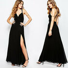 New Spring Women Sexy Long Dress Backless Cross Back Side Split Solid Maxi Dress