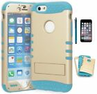 """For iPhone 6S, 4.7"""" Hybrid Sky Blue • Gold Stand Case+Screen Protector+Stylus"""