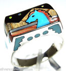 Kingman Turquoise Horse Inlay 925 Sterling Silver Men's, Woman's Ring All Sizes