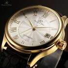 KS Men's Luxury Black Leather Roman DATE Automatic Mechanical Wrist Sport Watch