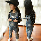 2017 Spring Baby Child Kids Girl Pure Denim Buckle Overalls Jeans Trousers 3-8Y