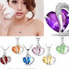 Hot Fashion Women Heart Crystal Rhinestone Silver Chain Pendant Necklace Jewelry