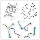 Stainless Steel Screw Stud Bar Ball Nose Ring Nostril Piercing Body Jewelry Punk
