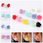 Pair Women/Girl's Cute Candy Color Resin Rose Flower Earring Ear Stud Xmas Gift