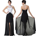 High Low Split Chiffon Halter Formal Bridesmaid Dress Prom Evening Size 6 16 18