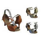 HenryG Womens Latin Dance Sandals, Crossed straps, Brown, Gold, Silver - HGB-221