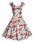 Beautiful Lilies Floral Print 1940's 1950's Flared Cotton Tea Dress New 8 - 18