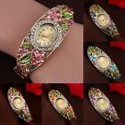 NEW Fashion Women Bangle Crystal Flower Bracelet Analog Quartz Watch Wrist Watch