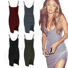Womens Celebs Soft Touch Side Split Ladies Strappy Bodycon Party Mini Dress 8-14