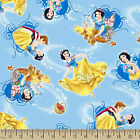 DISNEY SNOW WHITE on blue : 100% cotton fabric : by the 1/2 metre