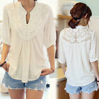 Ladies White Sexy Lace Chiffon T-Shirt Woman Short Sleeve Casual Blouse Tops New