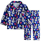 Pyjamas Girls Winter Flannel Pjs (Sz 8-14) Set Indigo Purple Panda Sz 8 10 12 14