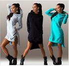 Hot Sell Women Fashion Irregular Long Sleeve Dress Fleece Coat Hooded Size New