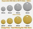 Heavy Duty  Solid BRASS or STAINLESS - S/M/L- Engraved Dog BONE Pet Id Disc Tag