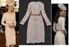 Cream Lace Dress Party Wedding Bridesmaid Evening Gown Size 8 10 12 Beige Creamy