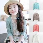 Spring Autumn Baby Child Kids Girl Knit V Neck Pure Button Cardigans Coat 2-10Y