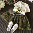 Summer Baby Girl Child Kids No.56 T-shirt+Camouflage Tutu Skirt Dress Sets 2-7Y