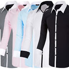 Cheap Men's Long Sleeve Slim Fit Shirts Button-Front Work Formal Business Tops
