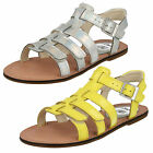 Clarks Girls Loni Joy Yellow Or Silver Strappy Sandals