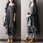 Women 100% Cotton Cardigan Maxi Oblique Loose Summer Long Blouse Dress New Coat