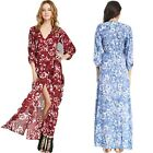 VTG Floral Printed Sexy V Neck Slit Wrap Chiffon Formal Elegant Maxi Long Dress
