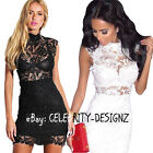 dp157 CELEBRITY FASHION Fitted Stand Collar Crochet Bodycon Evening Party Dress