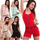 Overall woman suit full onesie shorts neck americana zip new CJ-1446