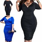 Blue Black Plus Women Sexy Low Cut Clubwear Ruched Hip Package Bodycon Dresses