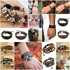 Fashion Punk Women/Men Multilayer Leather Wrap Cuff Bracelet Bangle Wristband