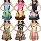 Sexy Women 3D Galaxy Printed Singlet Slim Sleeveless Skater Mini Short Dress