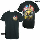 Licensed MARINE CORPS Double Flag Gold Globe Men's Black T-Shirt M-3XL NEW
