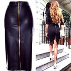 Black Faux Leather Stretch Above Knee Length Bodycon Pencil Skirt - Sz 6,8,10,12