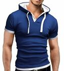 Mens Casual Short Sleeve Polo T-shirt Hoodies Outerwear