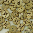 20/100pcs Coconut Baseball Buttons Lot Round 13mm Craft/Kids Sewing Cards