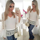 Womens Summer White Top V-neck BlouseTrumpet Flare Sleeve Hollow Out Lace Shirt