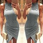 2016 New Women Sexy Sleeveless Turtleneck Irregular Bodycon Bandage Mini Dress