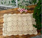 Oblong 20*24''/36'' Beige Handmade Cotton Crochet Lace Tablecloth Doilies B09