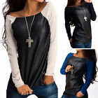 New Fashion Womens Sexy T-Shirt Long Sleeve Blouses Tunic Shell PU Leather Tops