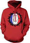 France Soccer Ball Flag with Paint Splatter - French Pride Hoodie Pullover
