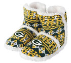 Green Bay Packers Woman's Faux Fur Aztec Sherpa Boot Slippers NFL Football