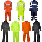Mens Hi Vis Waterproof Rainwear Coat Jacket Trousers Set Suit Taped Seams Work