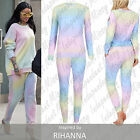 Hot Women Celebrity Inspired Ladies Rainbow Multicolour Loungewear Tracksuit Set