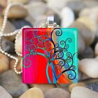 """TREE OF LIFE"" SUMMER SUNSET CURLY BRANCH GLASS TILE PENDANT NECKLACE KEYRING"
